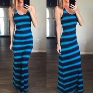 Lucky Brand Blue Striped Racerback Maxi Dress XS